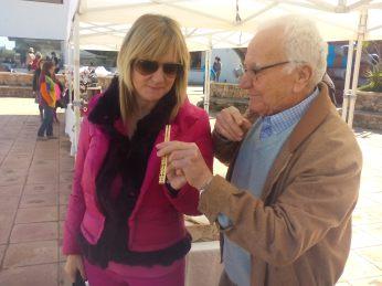 Marta Diaz, Vicepresidenta del Consell de Ibiza. Junto a Pep Xauet, maestro artesano de xeremias.